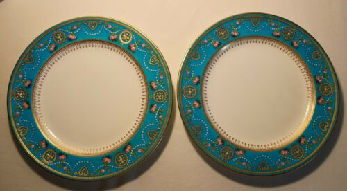 BEAUTIFUL PAIR MINTON PLATES 19TH CENTURY