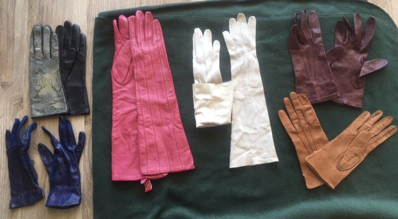 Lot of 6 leather vintage all will fit sz S gloves women's pink black white blue