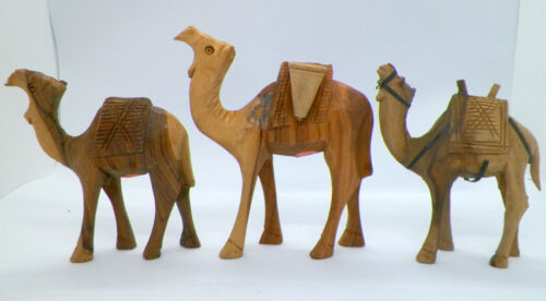 "Set of 3 Carved Olive Wood/Wooden Camel Figures - Israel 4"" 4"" 4-3/4"""