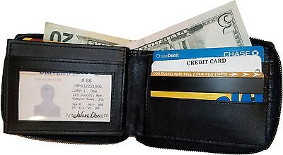 Man's Zip Around Leather wallet 12 credit card ID holder 2 Zip bi-folds bnwt