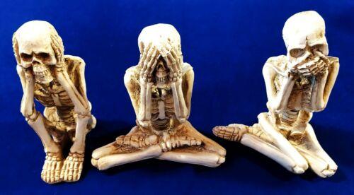 """Hear No Evil See No Evil Speak No Evil 4"""" Skeletons Set of 3 - New!"""
