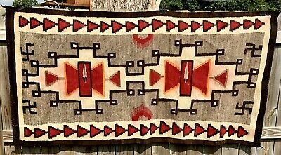Antique  Navajo Rug Native American Weaving Red And Brown Feathers