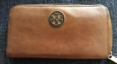 Gently Used Tory Burch Continental Zip Around Brown Leather Wallet Clutch