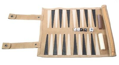 """13"""" Suede Leather Rolled Portable Lightweight Backgammon Game Set US Seller"""