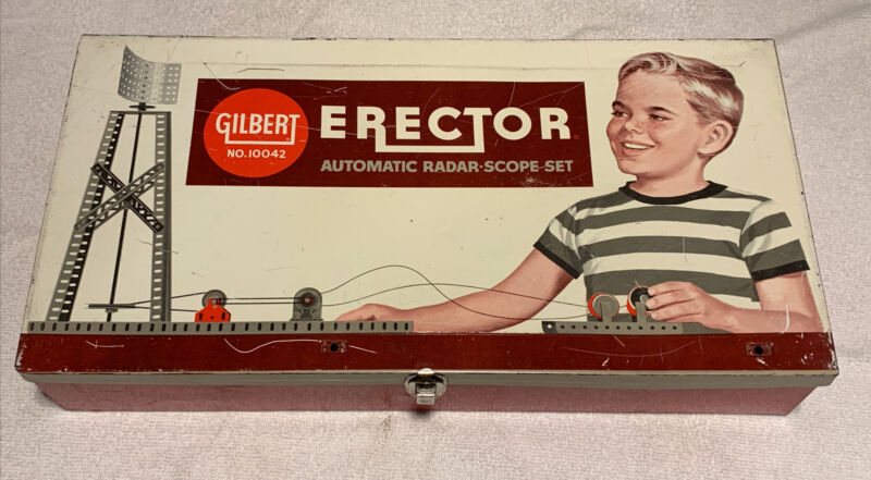 Gilbert Erector Metal case BOX ONLY Empty 10042 Vintage red yellow radar scope