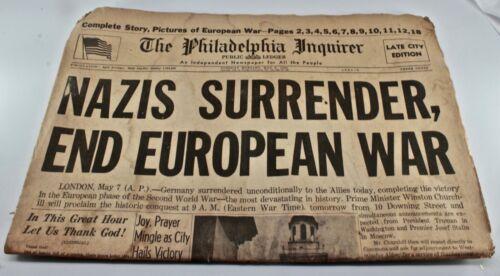 MAY 8 1945 NAZIS SURRENDER Philadelphia Inquirer WORLD WAR II  WW2 Newspaper