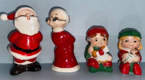 INARCO Kissing Santa + Mrs Claus Salt & Pepper Shakers AND Avon Elves S+P Vintag
