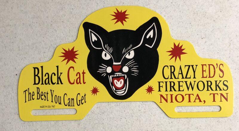 """VINTAGE 11"""" BLACK CAT LICENSE PLATE TOPPER PORCELAIN METAL GAS OIL SIGN!"""