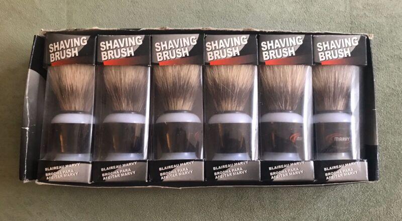 6 Vintage Marvy Shaving Brush Barber Shop Salon Supply Bristle Boar Hair NOS
