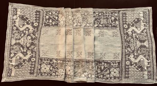 XIXcen Punto Antico Sardinian Pulled Thread Work Lace Mythologic Animals Runner