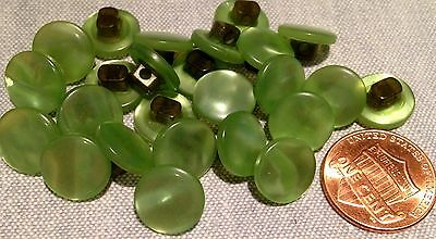 """24 Small Pearlized Green Plastic Shank Buttons 7/16"""" 11.4mm # 7716"""