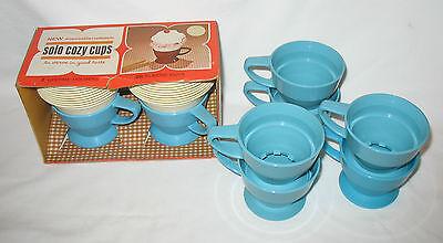 8 SOLO COZY CUPS - 2 in Original Box w/ refills , 6 loose cups, light blue, 60's (Light Blue Solo Cups)
