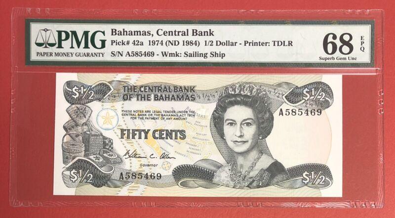 Bahamas 1/2 Dollar 1974 Pick# 42a PMG: 68 EPQ GEM UNC. (#2319)