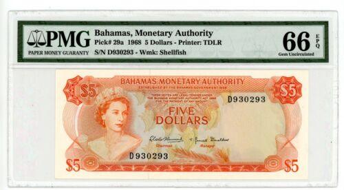 Bahamas  … P-20a … 5 Dollars … 1968 … Gem *UNC*.  PMG 66 EPQ.