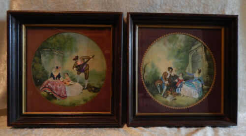 PAIR HIAWATHA HEIRLOOM EMBROIDERY FRAMED NEEDLE PAINTING PICTURES VINTAGE