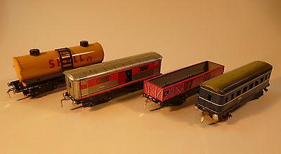 4 Waggons Spur H0 Eisenbahn Güterwagen Spielzeug Blechspielzeug Blecheisenbahn 1
