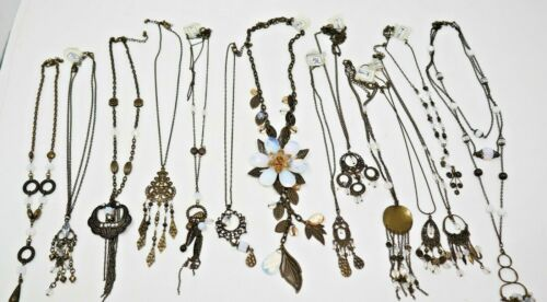 Wholesale Lot of 14 Necklaces Opal Beads Antique-bronze tone Leaves Flowers