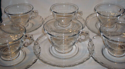 6 Vintage Fostoria Century Pressed Crystal Clear Glass Six Cups & Saucers Sets