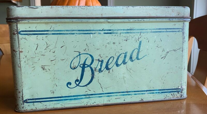 """Vintage Green Metal Tin Bread Box 12"""" x 5.5"""" with Lid and Vent"""