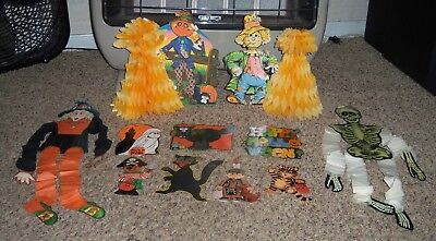 Lot VTG Halloween Wall Hanging Decoration Cardboard BEISTLE Die Cut Crepe Paper