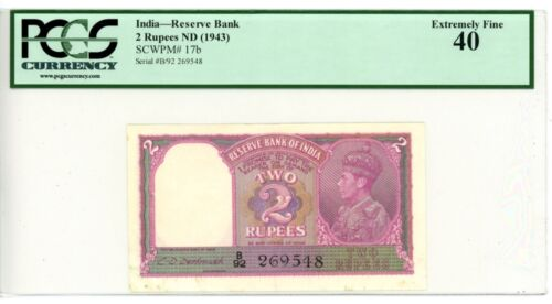 India ... P-17b ... 2 Rupees ... ND(1943) ... *XF* ... PCGS 40
