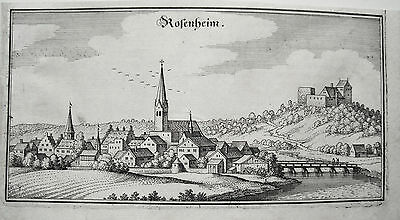 Rosenheim Oberbayern Bayern Merian Kupferstich der Erstausgabe 1644