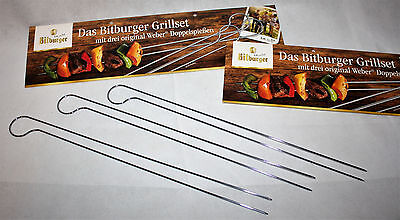 Bitburger Grillset mit sechs originalen Weber Doppelspießen Grill NEU OVP