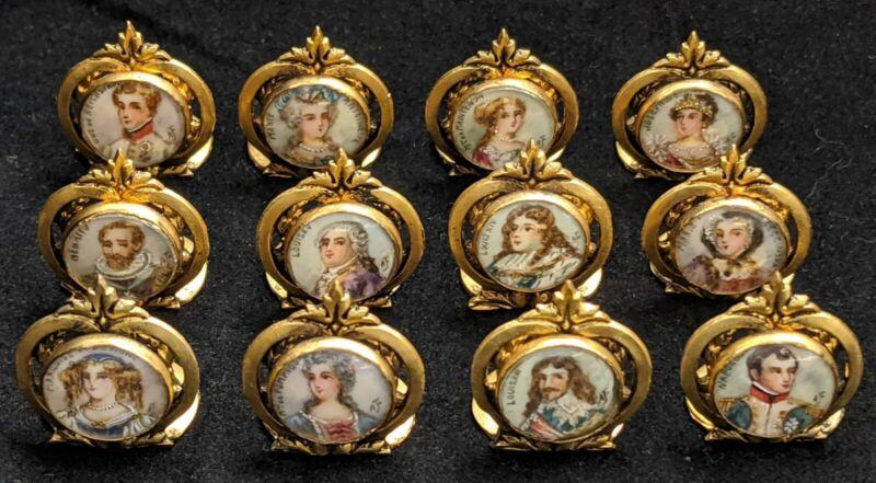 Antique French Miniature Portrait Gilt Bronze Place Card Holders Set of 12