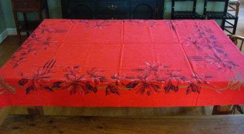 Vintage California Hand Prints Red Christmas Tablecloth Poinsettias Candles Gold