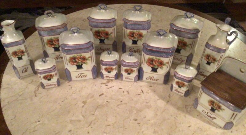 Vintage Czech Victoria China Lustreware Poppies Canisters Spice Vinegar Oil Salt