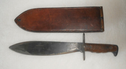 WWI Bolo Fighting Knife With Leather Scabbard Plumb St Louis 1918
