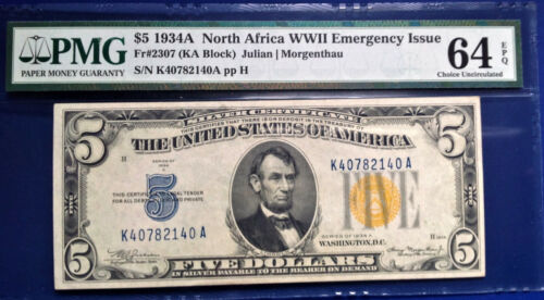$5 1934A FRN Fr-2307 North Africa WWII PMG64 Choice Uncirculated