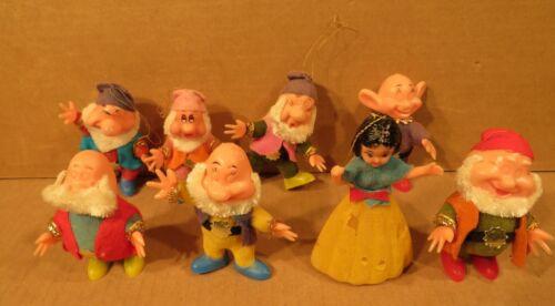 Vintage Disney Snow White and the Seven Dwarfs Flocked Christmas Ornaments