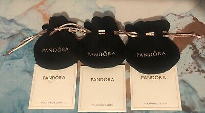 3 Pandora Gift Bags Black Velvet Pink Strings Jewelry Pouch 3 Polishing Cloths