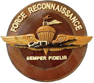 MARINE CORPS FORCE RECON EMBLEM - SEMPER FI - Handcrafted Wooden Military Plaque