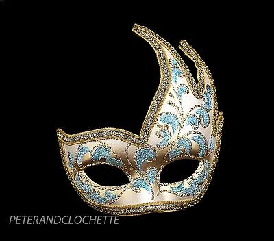 Mask Fancy Dress Wolf from Venice Colombine Swan Anna Sky Blue Golden 831 V43