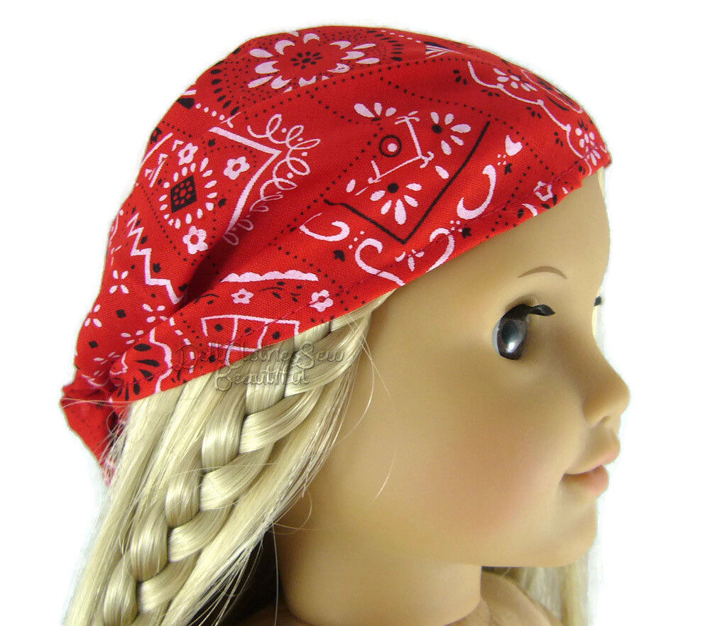 "Doll Clothes fits 18"" American Girl Red Bandana Hat Head Sca"