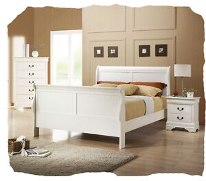 King Louis Timber 4 piece White QUEEN Size Bedroom Suite - BRAND NEW