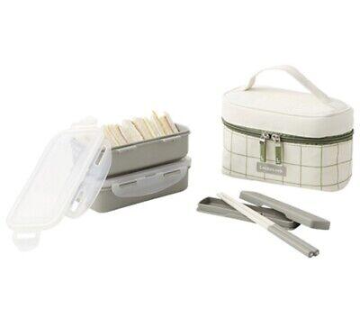 Lock & Lock Lunch Box Set 2 layers Airtight food Container +Bag +Chopsticks
