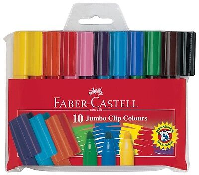 Faber-Castell JUMBO CONNECTOR Pens. Felt Tip Markers Pack of 10 assorted Colours
