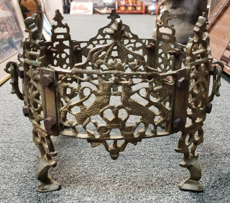 Circa 1900 German Gilded Cast Metal Crown Form Plant Stand