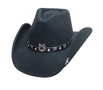 NEW Bullhide Hats 0708Bl Horse Country Collection Dark Horse Black Cowboy Hat - Country Cowboy Hats
