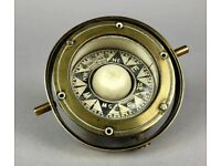 HENRY HUGHES & SON Ld- BRITISH NAVAL BRASS MOUNTED MARINE GIMBAL SESTRAL COMPASS