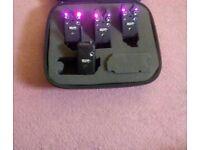 3 Purple Haze Delkim TXi Plus Bite Alarms With RX Pro Delkim Reciever and Protective Carry Case