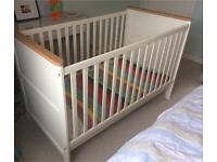 John Lewis white Cot Bed (cotbed) - can deliver to edinburgh