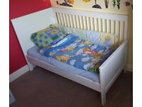 White, solid, woden cot bed in very good condition with/without mattress