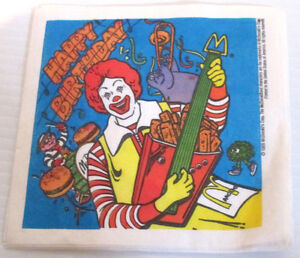MCDONALDS RESTAURANTS RONALD MCDONALD HAPPY BIRTHDAY PARTY NAPKIN 1988