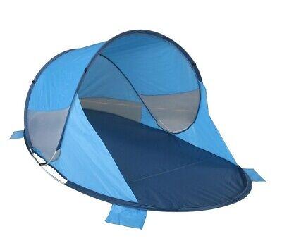 Strandmuschel Pop Up Strandzelt Dunkel- + Hellblau Wetter + Sichtschutz Zelt