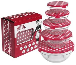 dotcomgiftshop SET OF 5 RED RETROSPOT GLASS BOWLS WITH LIDS