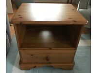 Pine TV Unit With Single Drawer & Casters On Rear